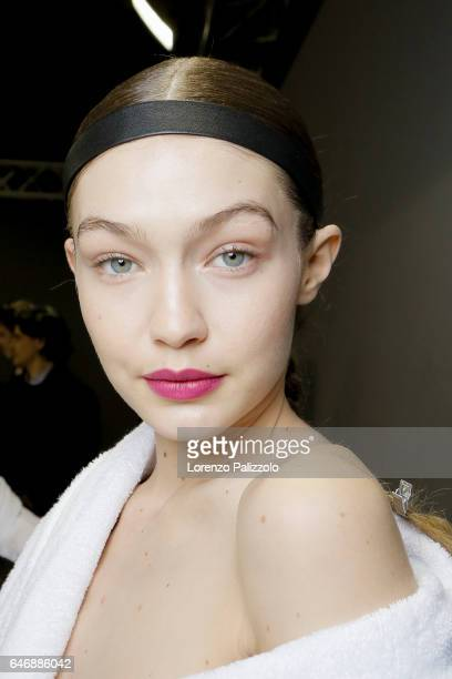 Model Gigi Hadid beauty backstage detail is seen backstage before the HM Studio show as part of the Paris Fashion Week on March 1 2017 in Paris France