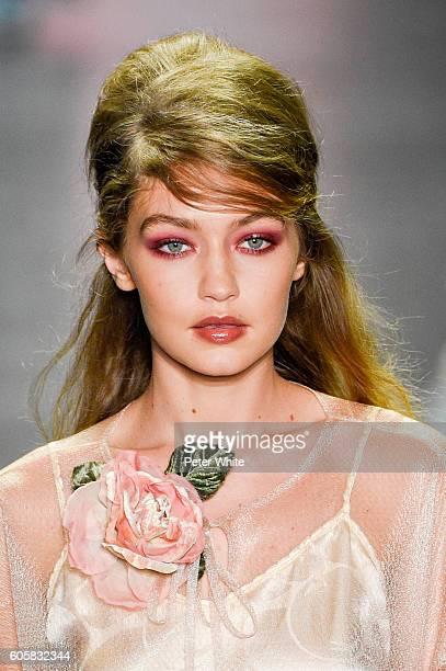 Model Gigi Hadid beauty runway detail walks the runway at Anna Sui Spring Summer 2017 fashion show during New York Fashion Week at The Arc Skylight...