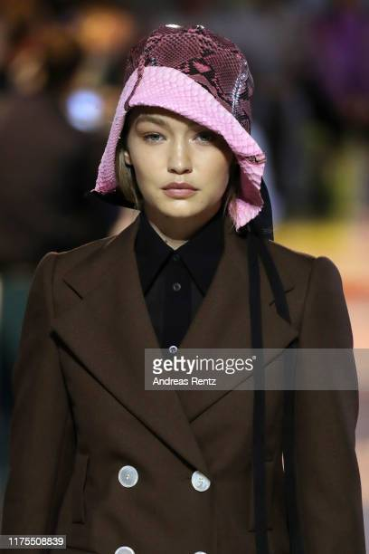 Model Gigi Hadid beauty runway detail walks the runway at the Prada show during the Milan Fashion Week Spring/Summer 2020 on September 18 2019 in...