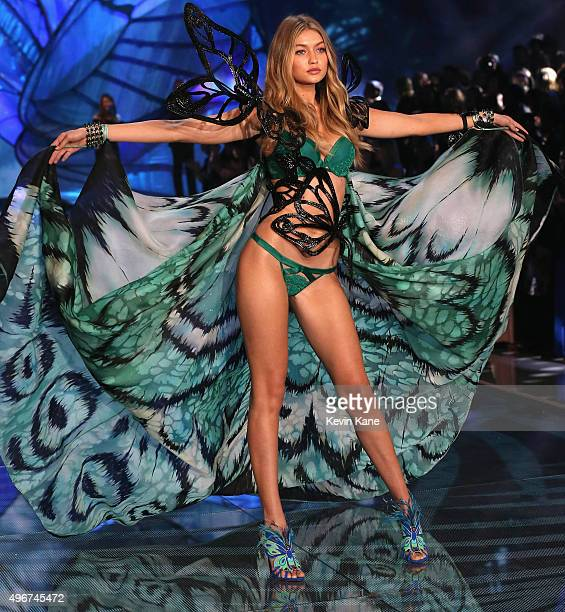 Model Gigi Hadid from California walks the runway during the 2015 Victoria's Secret Fashion Show at Lexington Armory on November 10 2015 in New York...