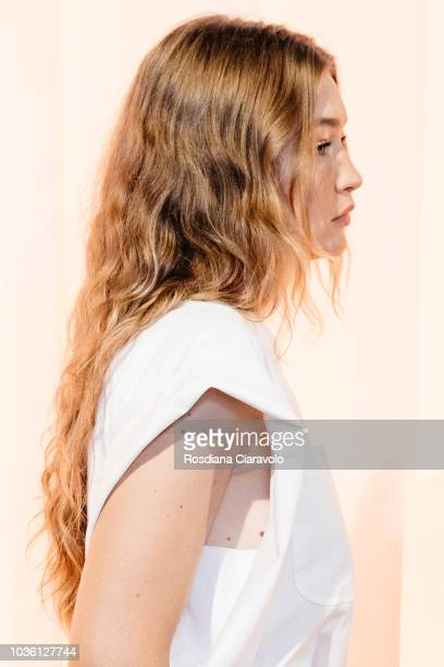 Model Gigi Hadid hair detail is seen backstage ahead of the Alberta Ferretti show during Milan Fashion Week Spring/Summer 2019 on September 19 2018...