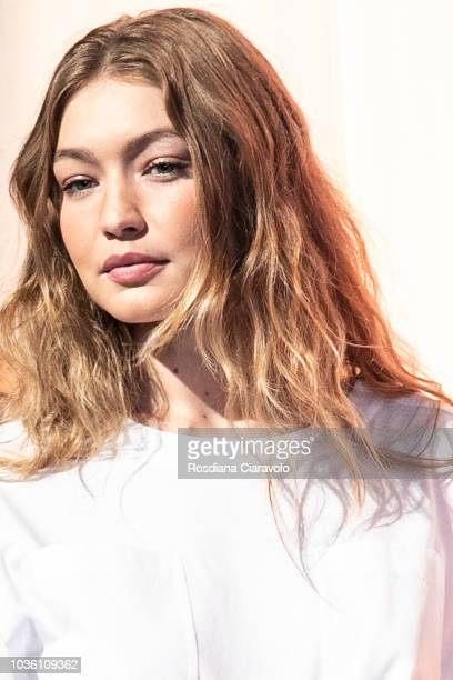 Model Gigi Hadid is seen backstage ahead of the Alberta Ferretti show during Milan Fashion Week Spring/Summer 2019 on September 19 2018 in Milan Italy