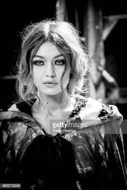 Model Gigi Hadid is seen backstage ahead of the Alberta Ferretti show during Milan Fashion Week Fall/Winter 2017/18 on February 22 2017 in Milan Italy