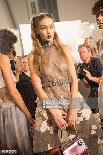 Model Gigi Hadid is seen backstage ahead of the Fendi show during Milan Fashion Week Spring/Summer 2017 on September 22 2016 in Milan Italy