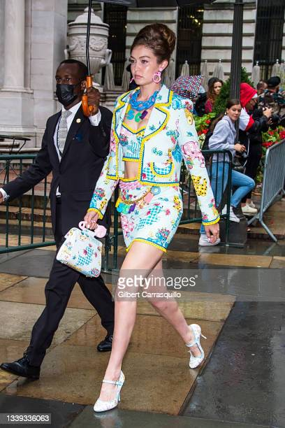 Model Gigi Hadid is seen during the Moschino by Jeremy Scott Spring Summer 2022 fashion show at Bryant Park on September 09, 2021 in New York City.