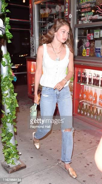 Model Gigi Hadid is seen in SoHo on August 20, 2019 in New York City.