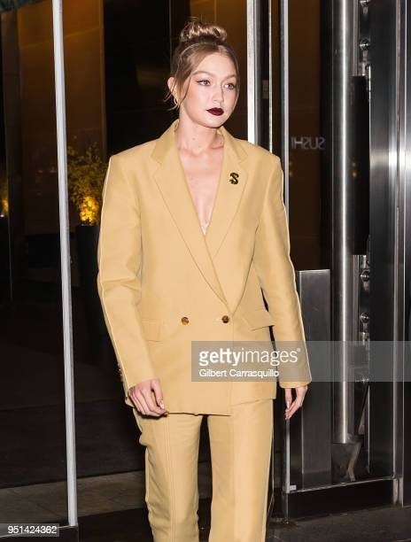 Model Gigi Hadid is seen leaving the HBO documentary series premiere of 'Being Serena' at Time Warner Center on April 25, 2018 in New York City.