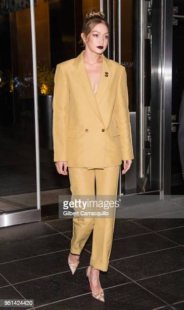 Model Gigi Hadid is seen leaving the HBO documentary series premiere of 'Being Serena' at Time Warner Center on April 25 2018 in New York City