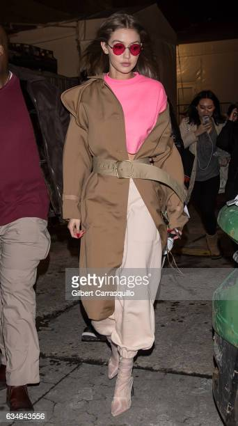 Model Gigi Hadid is seen leaving the Jeremy Scott collection during, New York Fashion Week: The Shows at Gallery 1, Skylight Clarkson Sq on February...