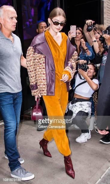 Model Gigi Hadid is seen leaving the Oscar De La Renta SS19 Fashion Show during New York Fashion Week at Spring Studios Terrace on September 11 2018...
