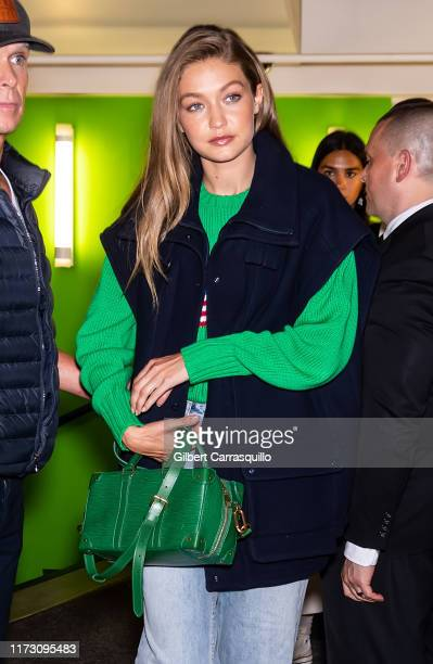 Model Gigi Hadid is seen leaving the Ralph Lauren Fashion Show during New York Fashion Week at Ralph's Club on September 07 2019 in New York City