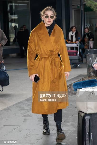 Model Gigi Hadid is seen on December 03, 2019 in Paris, France.