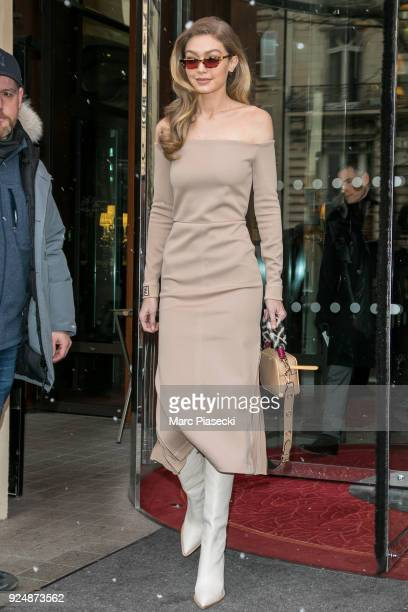 Model Gigi Hadid is seen on February 27, 2018 in Paris, France.