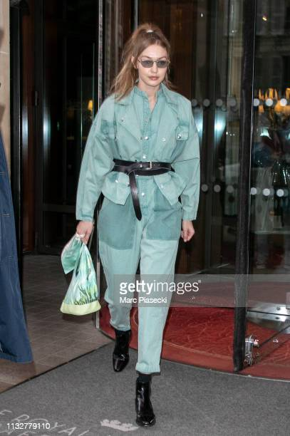 Model Gigi Hadid is seen on February 28, 2019 in Paris, France.