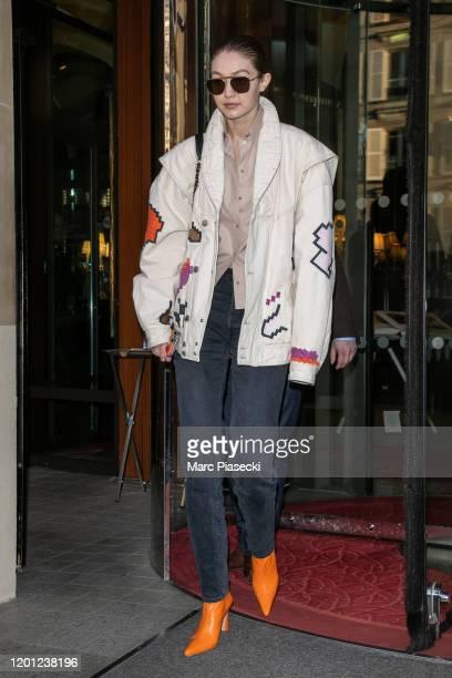 Model Gigi Hadid is seen on January 22 2020 in Paris France