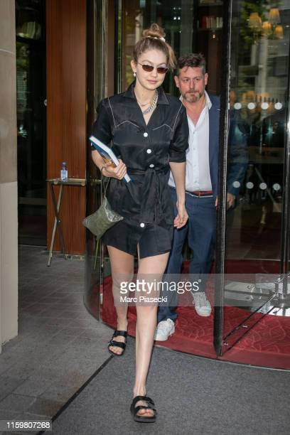 Model Gigi Hadid is seen on July 03, 2019 in Paris, France.