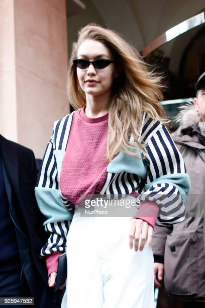 Model Gigi Hadid is seen on March 1 2018 in Paris France during Paris Fashion Week Womenswear Fall/Winter 2018/2019 Day Four