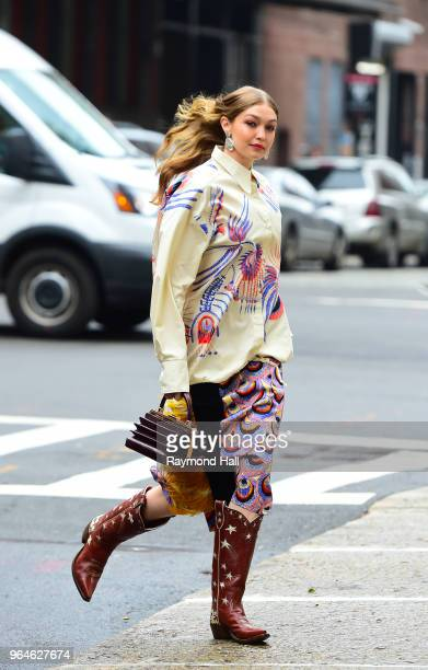 Model Gigi Hadid is seen on set of a photo shoot in Soho on May 31 2018 in New York City