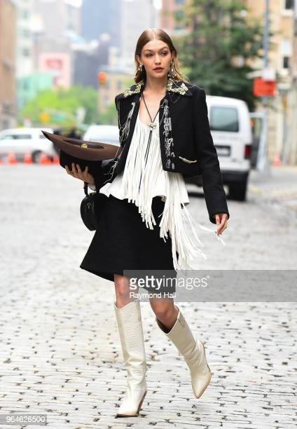 Model Gigi Hadid is seen on set of a photoshoot in Soho on May 31 2018 in New York City