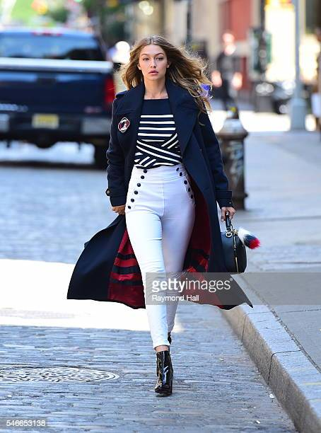Model Gigi Hadid is seen on the set of a Photoshoot for 'Tommy' Hilfiger' in Soho on July 12 2016 in New York City