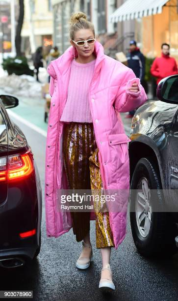 Model Gigi Hadid is seen walking in Soho on January 9 2018 in New York City