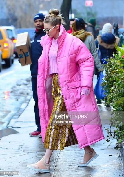 Model Gigi Hadid is seen walking in Soho on January 9 2018 in New York City