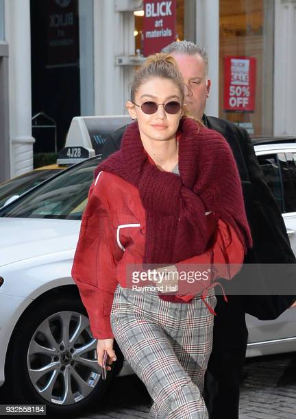 Model Gigi Hadid is seen walking in Soho on March 15 2018 in New York City