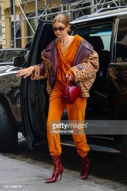 Model Gigi Hadid is seen walking in soho on September 11, 2018 in New York City.