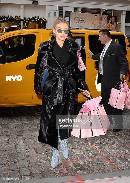 Model GiGi Hadid is seen walking in Soho with Victoria Secret Bags on December 8 2016 in New York City