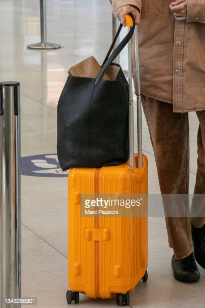 Model Gigi Hadid, luggage detail, is seen at Charles-de-Gaulle airport on September 27, 2021 in Paris, France.
