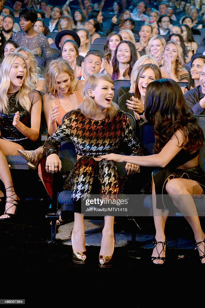 Model Gigi Hadid, model Karlie Kloss, actress Mariska Hargitay and recording artist Selena Gomez congratulate recording artist Taylor Swift (C) after she wins the Video of the Year award at the 2015 MTV Video Music Awards at Microsoft Theater on August 30, 2015 in Los Angeles, California.