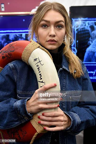 Model Gigi Hadid poses backstage at the Tommy Hilfiger Women's Fall 2016 show during New York Fashion Week The Shows at Park Avenue Armory on...