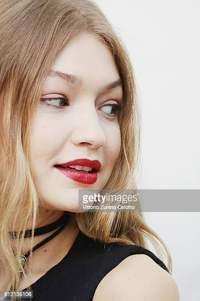 Model Gigi Hadid poses backstage prior the Giambattista Valli show as part of the Paris Fashion Week Womenswear Spring/Summer 2017 on October 3 2016...