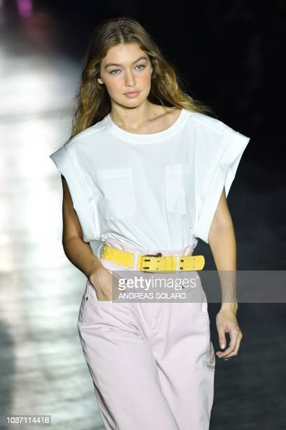 Model Gigi Hadid presents a creation by Alberta Ferretti during her Women's Spring/Summer 2019 fashion show in Milan on September 19 2018