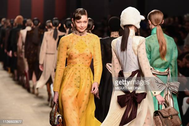 TOPSHOT Model Gigi Hadid presents a creation during the Fendi women's Fall/Winter 2019/2020 collection fashion show on February 21 2019 in Milan