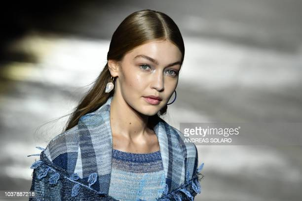 Model Gigi Hadid presents a creation during the presentation of the Missoni fashion show, as part of the Women's Spring/Summer 2019 fashion week in...