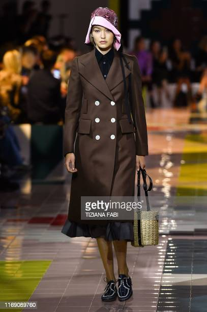 Model Gigi Hadid presents a creation for Prada's Women's Spring Summer 2020 collection in Milan on September 18, 2019.