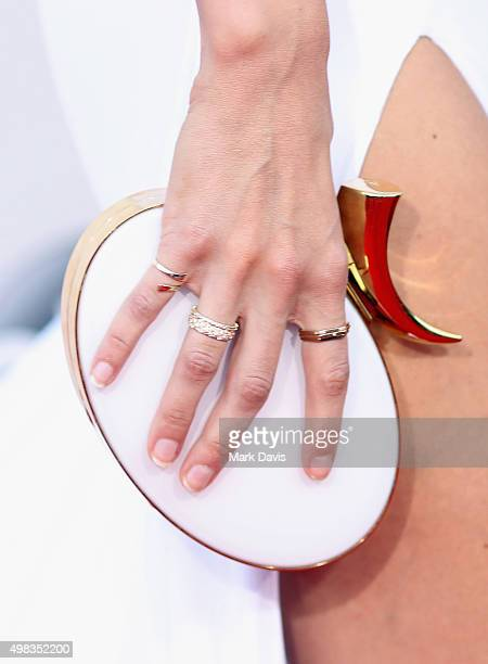 Model Gigi Hadid purse detail attends the 2015 American Music Awards at Microsoft Theater on November 22 2015 in Los Angeles California