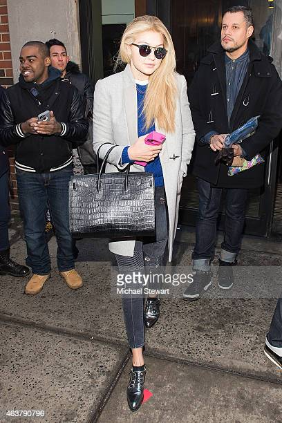 Model Gigi Hadid seen departing the Jeremy Scott fashion show during MADE Fashion Week at MILK Studios on February 18 2015 in New York City