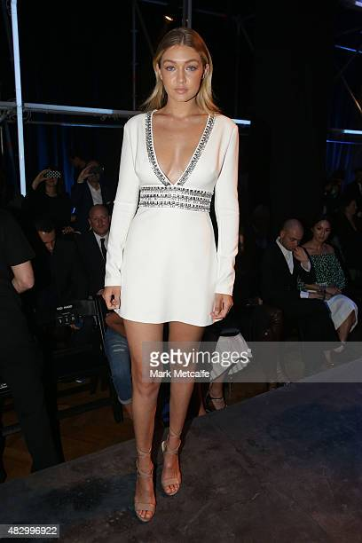 Model Gigi Hadid sits front row during the David Jones Spring/Summer 2015 Fashion Launch at David Jones Elizabeth Street Store on August 5 2015 in...