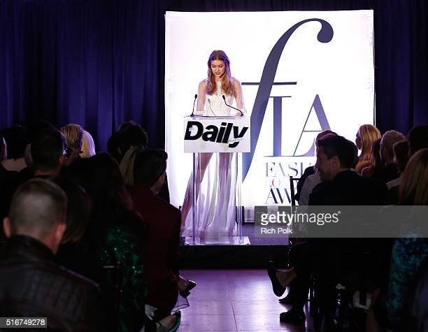 COVERAGE Model Gigi Hadid speaks onstage during The Daily Front Row 'Fashion Los Angeles Awards' 2016 at Sunset Tower Hotel on March 20 2016 in West...