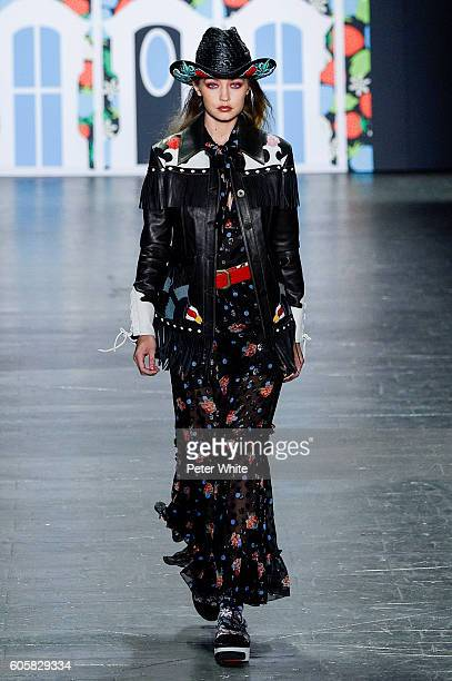 Model Gigi Hadid walk the runway at Anna Sui Spring Summer 2017 fashion show during New York Fashion Week at The Arc, Skylight at Moynihan Station on...