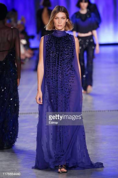Model Gigi Hadid walks the runway at the Alberta Ferretti show during Milan Fashion Week September 2019 at Italy on September 18 2019 in Milan Italy