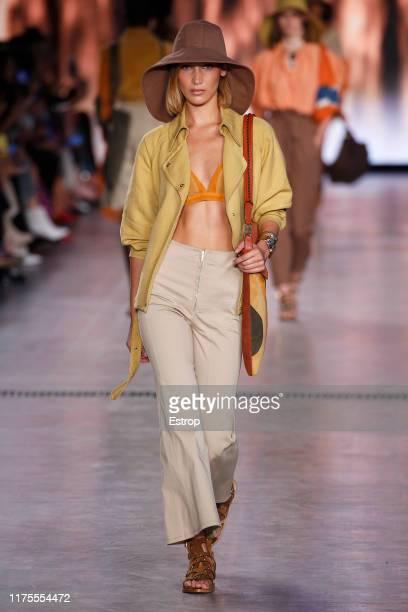 Model Gigi Hadid walks the runway at the Alberta Ferretti show during Milan Fashion Week September 2019 at Italy on September 18, 2019 in Milan,...