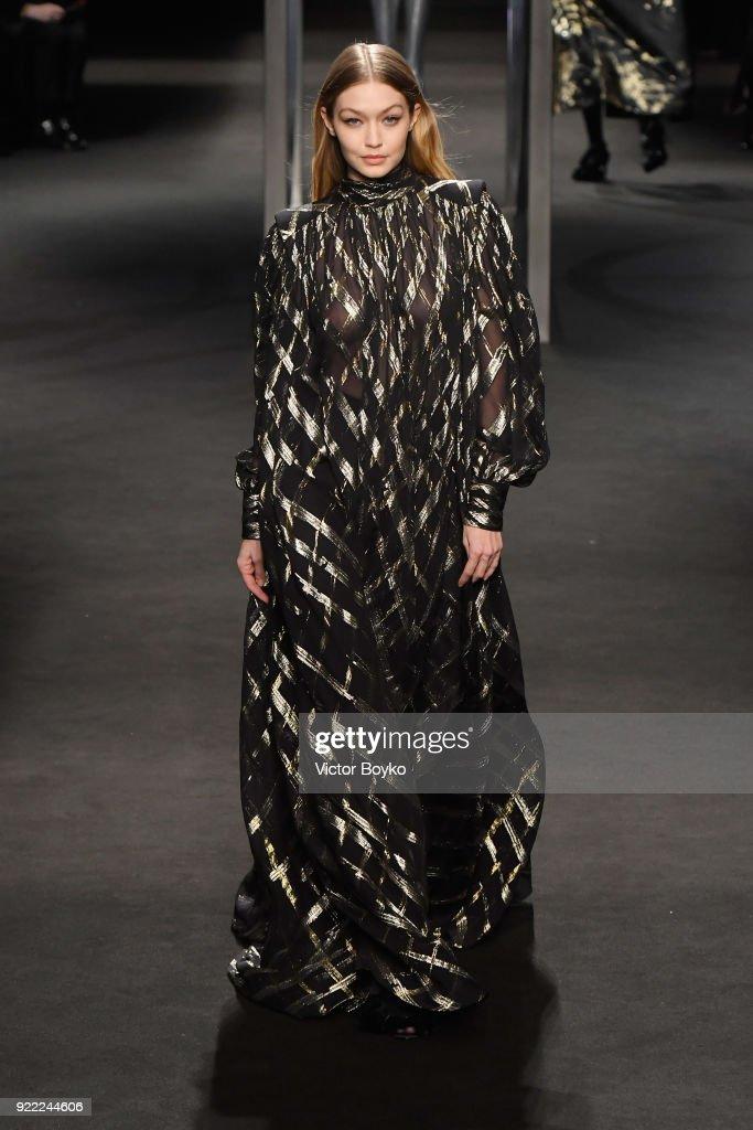 Model Gigi Hadid walks the runway at the Alberta Ferretti show during Milan Fashion Week Fall/Winter 2018/19 on February 21, 2018 in Milan, Italy.
