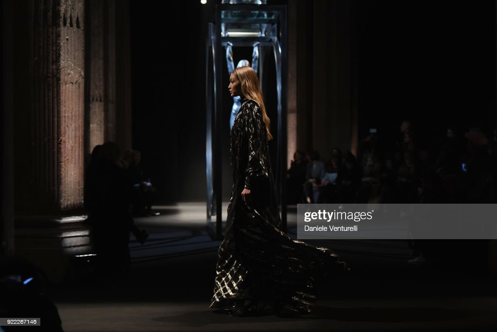 Model Gigi Hadid walks the runway at the Alberta Ferretti show during Milan Fashion Week Fall/Winter 2018/19 on February 21, 2018 in Milan, Italy.
