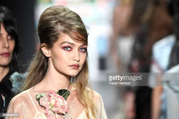 Model Gigi Hadid walks the runway at the Anna Sui fashion show during New York Fashion Week: The Shows at The Arc, Skylight at Moynihan Station on...