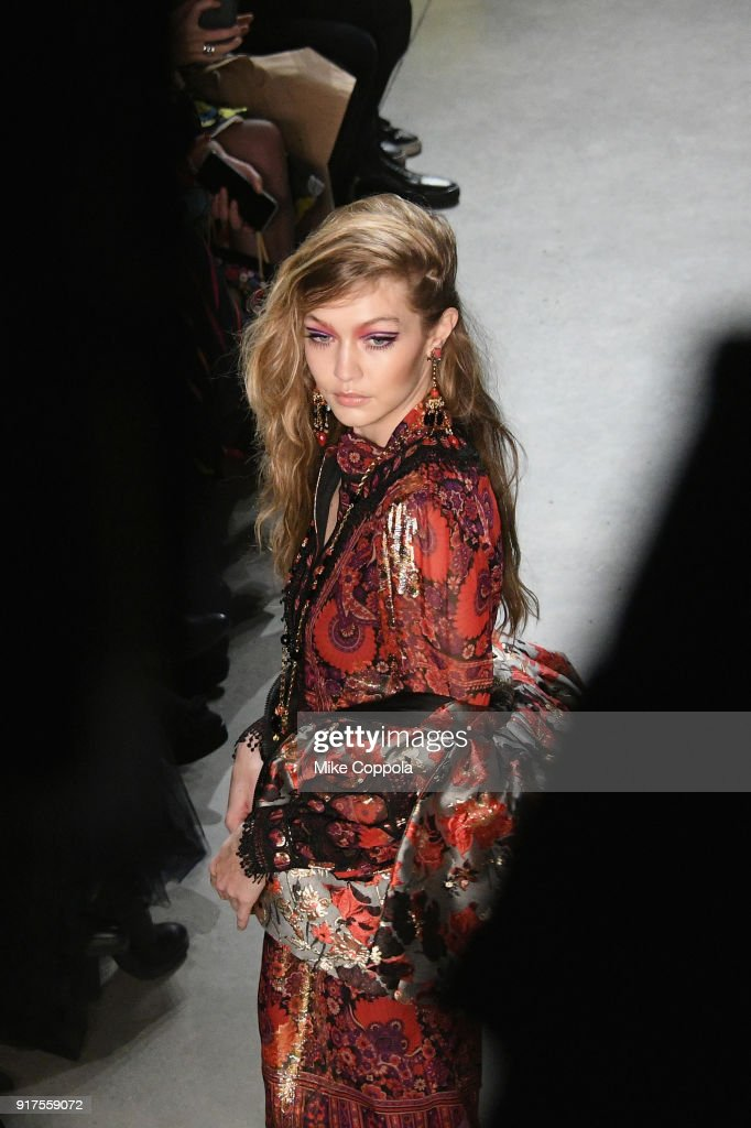 Model Gigi Hadid walks the runway at the Anna Sui runway show during