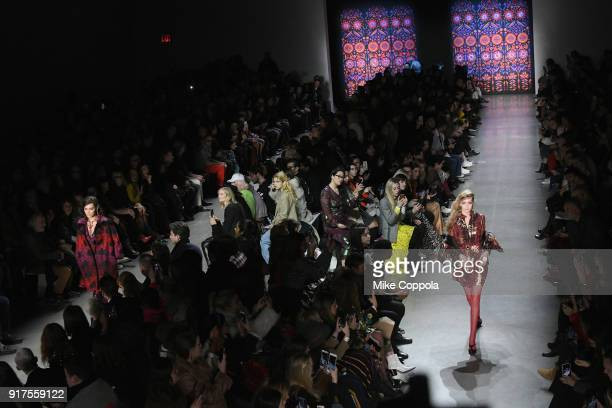 Model Gigi Hadid walks the runway at the Anna Sui runway show during IMG NYFW The Shows at Spring Studios on February 12 2018 in New York City