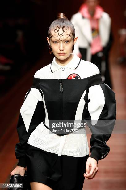 Model Gigi Hadid walks the runway at the Burberry show during London Fashion Week February 2019 on February 17, 2019 in London, England.